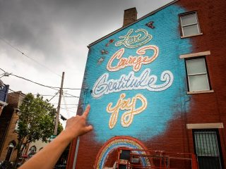 A memorial mural in Cincinnati shaped in love
